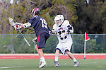 Manhattan Beach, CA 02-11-17 - Jack Margolis (Santa Clara #19) and Robert Dryden (Loyola Marymount #11) in action during the MCLA non-conference game between LMU (SLC) and Santa Clara (WCLL).  Santa Clara defeated LMU 18-3.