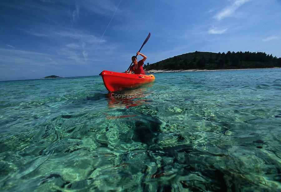 .Badidja island near Korcula. Kayak.Cruise in Croatia. Island of Dalmatia