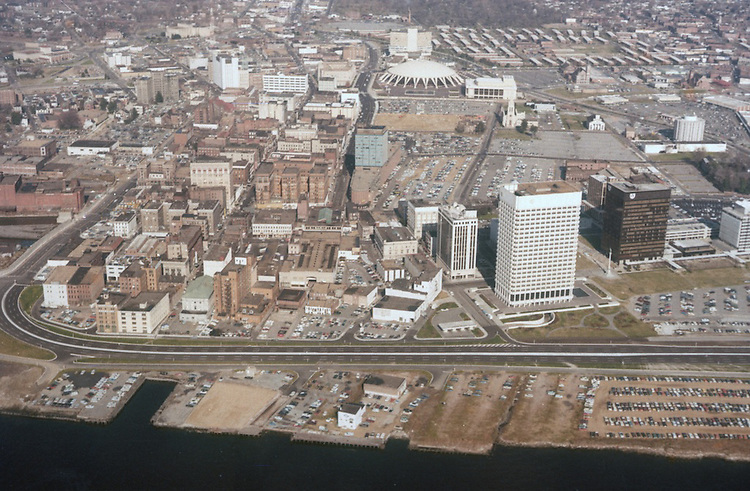 1972 .Redevelopment...Downtown South (R-9)..AERIAL VIEW.LOOKING NORTH...NEG#.NRHA# 2730..