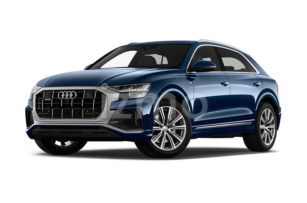Stock pictures of low aggressive front three quarter view of a 2019 Audi Q8 S Line 5 Door SUV