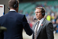 Jonny Wilkinson prepares for his Sky broadcast with Will Greenwood during the QBE International match between England and New Zealand at Twickenham Stadium on Saturday 8th November 2014 (Photo by Rob Munro)