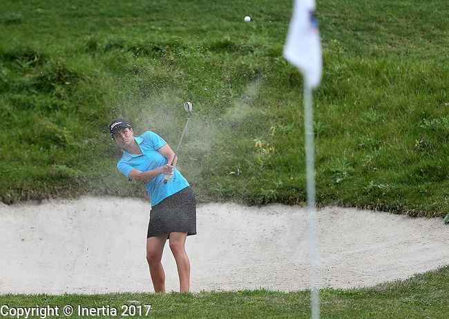 SIOUX FALLS, SD - AUGUST 31: Kelsie Passolt blasts out of the sand on the 9th hole, her 18th hole, during the first round of the Great Life Challenge, Symetra Tour stop at Willow Run Thursday afternoon. (Photo by Dave Eggen/Inertia)
