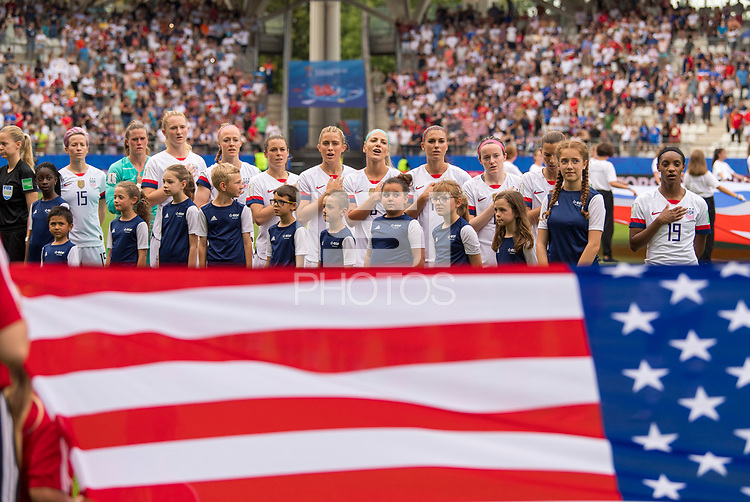 REIMS,  - JUNE 24: The USWNT stands for the national anthem during a game between NT v Spain and  at Stade Auguste Delaune on June 24, 2019 in Reims, France.