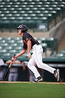 GCL Orioles shortstop Ryan Mountcastle (43) at bat during the first game of a doubleheader against the GCL Rays on August 1, 2015 at the Ed Smith Stadium in Sarasota, Florida.  GCL Orioles defeated the GCL Rays 2-0.  (Mike Janes/Four Seam Images)