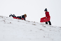 Pictured: Two young boys sledge in the snow at Libanus, in Brecon, Wales, UK. Friday 01 February 2019<br /> Re: Heavy snow and freezing temperatures affecting parts of the UK.