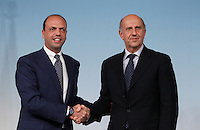 Il Ministro dell'Interno e vicepresidente del Consiglio Angelino Alfano stringe la mano al nuovo Capo della Polizia Alessandro Pansa, a destra, al termine di una conferenza stampa a Palazzo Chigi, Roma, 31 maggio 2013.<br /> Italian  Deputy Premier and Interior Minister Angelino Alfano shakes hands with the Police's newly named Chief Alessandro Pansa, right, at the end of a press conference at Chigi Palace, Rome, 31 May 2013. <br /> UPDATE IMAGES PRESS/Riccardo De Luca