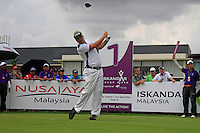 Overnight leader Daniel Chopra (SWE) tees off on the 1st tee to start his match during Saturday's storm delayed  Round 3 of the Iskandar Johor Open 2011 at the Horizon Hills Golf Resort Johor, Malaysia, 19th November 2011 (Photo Eoin Clarke/www.golffile.ie)