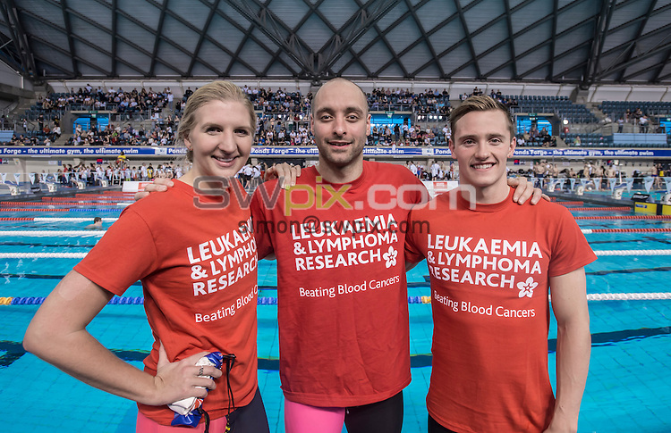 PICTURE BY ALLAN McKENZIE/SWPIX.COM - Swimming - Guinness World Record 100 x 100m Swim - Ponds Forge, Sheffield, England - 010214 - Rebecca Adlington with James Goddard & Harry Needs supporting Leukaemia & Lymphoma Research.