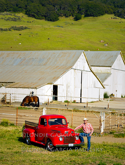 Cowboy and his 1949 Red Ford Truck, San Luis Obispo, California<br />