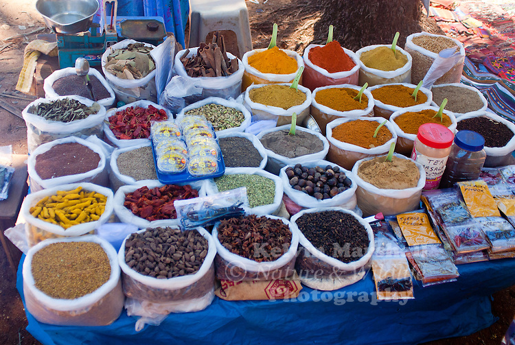 A large collection of Kerala Spices on display for sale. Anjuna Beach, Goa - India.