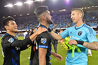 San Jose, CA - Saturday, March 11, 2017: Nick Lima, Anibal Godoy, David Bingham celebrate during a Major League Soccer (MLS) match between the San Jose Earthquakes and the Vancouver Whitecaps FC at Avaya Stadium.