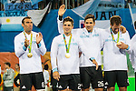 Lucas Rey #8 of Argentina, Gonzalo Peillat #2 of Argentina, Agustin Mazzilli #26 of Argentina and Juan Gilardi #4 of Argentina with their gold medals at the Men's hockey medal ceremony at the Rio 2016 Olympics at the Olympic Hockey Centre in Rio de Janeiro, Brazil.