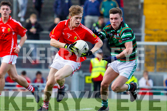 Pa Warren East Kerry in action against Rory Murphy St Brendans in the Minor Football Final at Austin Stack Park on Saturday.