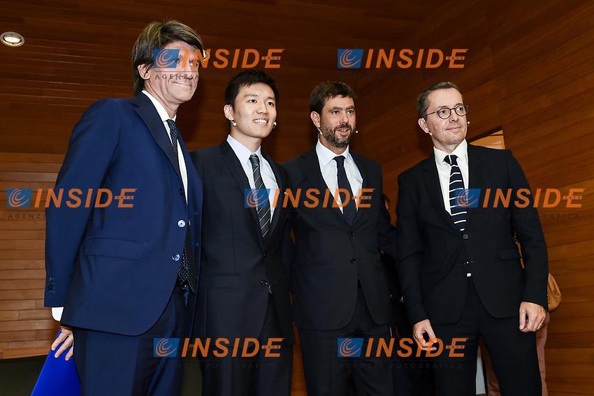 Gianmario Verona-Steven Zhang-Andrea Agnelli-Jacques Henry Eyraud <br /> Milano 19/09/2019 - convegno Financial Fair Play / Photo Daniele Buffa/Image Sport/Insidefoto