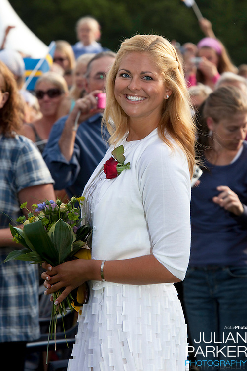 Crown Princess Victoria of Sweden celebrates her 32nd Birthday at a concert in Borgholm, on the Island of Oland in Sweden..Accompanied by her fiance Daniel Westling, and King Carl Gustaf, and Queen Silvia of Sweden, Prince Carl Phillip, and Princess Madeleine of Sweden.Princess Madeleine