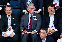 28 JUL 2012 - LONDON, GBR - HRH Prince Charles, The Prince of Wales (centre) watches the London 2012 Olympic Games women's singles group badminton match between Susan Egelstaff (GBR) of Great Britain and Maja Tvrdy (SLO) of Slovenia at Wembley Arena, London, Great Britain (PHOTO (C) 2012 NIGEL FARROW)