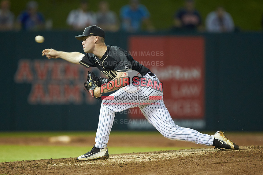 Army Black Knights relief pitcher Jacob Carte (2) delivers a pitch to the plate against the Auburn Tigers at Doak Field at Dail Park on June 2, 2018 in Raleigh, North Carolina. The Tigers defeated the Black Knights 12-1. (Brian Westerholt/Four Seam Images)
