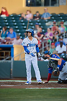 Jack Lopez (1) of the Omaha Storm Chasers bats against the Round Rock Express at Werner Park on May 27, 2018 in Papillion , Nebraska. Round Rock defeated Omaha 8-3. (Stephen Smith/Four Seam Images)