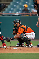 Bowie Baysox catcher Carlos Perez (24) during an Eastern League game against the Richmond Flying Squirrels on August 15, 2019 at Prince George's Stadium in Bowie, Maryland.  Bowie defeated Richmond 4-3.  (Mike Janes/Four Seam Images)