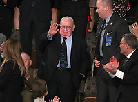 """Judah Samet, a member of the Tree of Life Synagogue in Pittsburgh who survived the horrific shooting that killed 11 members of his community and is also a survivor of the Holocaust, acknowledges as the audience sing him """"Happy Birthday"""" as United States President Donald J. Trump delivers his second annual State of the Union Address to a joint session of the US Congress in the US Capitol in Washington, DC on Tuesday, February 5, 2019. Photo Credit: Alex Edelman/CNP/AdMedia"""