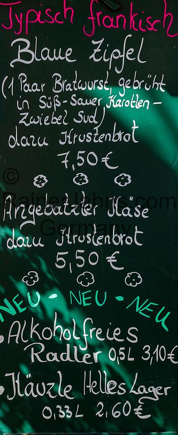 Germany; Bavaria; Lower Franconia; Ochsenfurt: menu for Franconian specialities | Deutschland, Bayern, Unterfranken, Ochsenfurt: Speisekarte fuere fraenkische Spezialitaeten