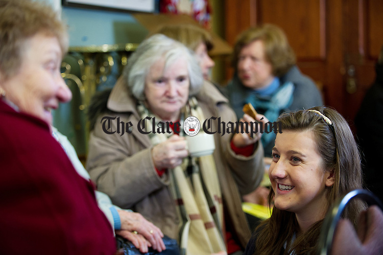 Student Orla Bredin gathering information from some ladies attending a coffee morning in Ennis Cathedral, organised by Colaiste Muire Ennis Transition Year Students in conjunction with An Garda Siochana as part of their Positive Ageing YSI project. Photograph by John Kelly.