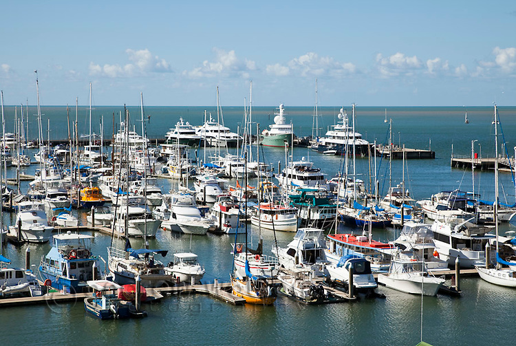 Boats moored in the Cairns Marlin Marina.  Cairns, Queensland, Australia