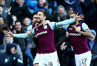 Conor Hourihane of Aston Villa celebrates scoring Aston Villa's second goal with Robert Snodgrass of Aston Villa and Ahmed Elmohamady of Aston Villa <br /> <br /> Photographer Leila Coker/CameraSport<br /> <br /> The EFL Sky Bet Championship - Aston Villa v Birmingham City - Sunday 11th February 2018 - Villa Park - Birmingham<br /> <br /> World Copyright &copy; 2018 CameraSport. All rights reserved. 43 Linden Ave. Countesthorpe. Leicester. England. LE8 5PG - Tel: +44 (0) 116 277 4147 - admin@camerasport.com - www.camerasport.com