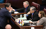 Nevada Senate Republicans, from left, Michael Roberson, Don Gustavson, James Settelmeyer and Becky Harris work in the final hours of the session at the Legislative Building in Carson City, Nev., on Monday, June 1, 2015. <br /> Photo by Cathleen Allison