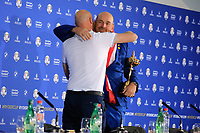 Thomas Bjorn (Team Europe Captain) hugs Media Director Steve Todd after the sunday singles at the Ryder Cup, Le Golf National, Paris, France. 30/09/2018.<br /> Picture Phil Inglis / Golffile.ie<br /> <br /> All photo usage must carry mandatory copyright credit (&copy; Golffile | Phil Inglis)