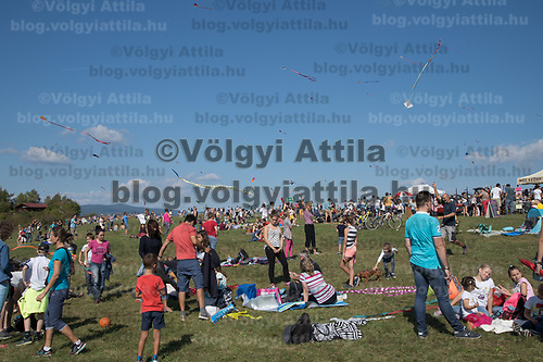 People participate flying their kites during the Kite Festival in Zebegeny (about 70 kilometres north of capital city Budapest), Hungary on Sept. 15, 2018. ATTILA VOLGYI