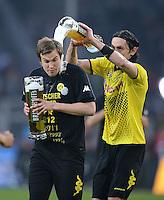 Fussball 1. Bundesliga :  Saison   2010/2011   32. Spieltag  21.04.2012 Borussia Dortmund - Borussia Moenchengladbach Jubel nach dem SIEG zur Deutschen Meisterschaft Kevin Grosskreutz (li.)  mit Neven Subotic (Borussia Dortmund)
