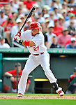 8 March 2012: St. Louis Cardinals' infielder Tyler Greene in action during a Spring Training game against the Boston Red Sox at Roger Dean Stadium in Jupiter, Florida. The Cardinals defeated the Red Sox 9-3 in Grapefruit League action. Mandatory Credit: Ed Wolfstein Photo