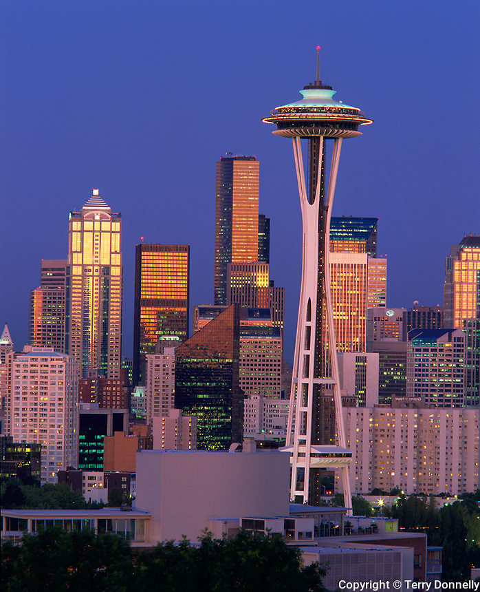 Seattle, WA   <br /> Space needle and Seattle's skyline at dusk - from Kerry Park on Queen Ann hill