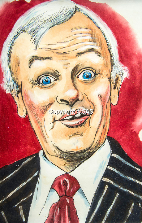 BNPS.co.uk (01202 558833)<br /> Pic:  SAS/BNPS<br /> <br /> Caricature of his Mr Humphries role.<br /> <br /> Not Free! - 'King of Camp' John Inman's archive to be auctioned.<br /> <br /> Possessions from the estate of the late TV star John Inman have emerged for sale.<br /> <br /> The actor graced the small screen in the hit BBC comedy 'Are You Being Served' for 13 years from 1972 to 1985.<br /> <br /> The auction includes mementos from the sitcom which attracted 22 million viewers at its peak and spawned a film.