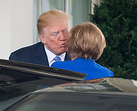 United States President Donald J. Trump welcomes Chancellor Angela Merkel of Germany to the White House in Washington, DC for talks on Friday, April 27, 2018.<br /> Credit: Ron Sachs / CNP /MediaPunch