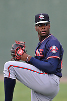 Starting pitcher Touki Toussaint (20) of the Rome Braves warms up before a game against the Greenville Drive on Thursday, September 1, 2016, at Fluor Field at the West End in Greenville, South Carolina. Rome won, 3-2. (Tom Priddy/Four Seam Images)