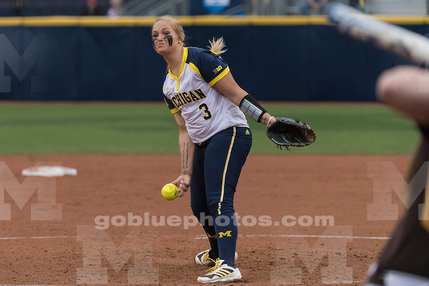 The University of Michigan softball team beats Valparaiso, 8-0, in five innings in the first round of the NCAA Tournament at Alumni Field in Ann Arbor on May 20, 2016.