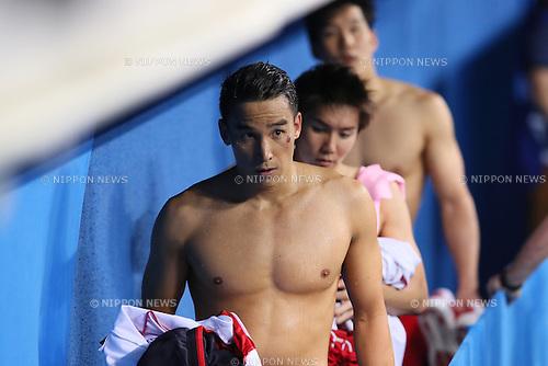 (L-R) Takeshi Matsuda, Naito Ehara, Yuki Kobori, (JPN), <br /> AUGUST 9, 2016 - Swimming : <br /> Men's 4x200m Freestyle Relay Heat <br /> at Olympic Aquatics Stadium <br /> during the Rio 2016 Olympic Games in Rio de Janeiro, Brazil. <br /> (Photo by Yohei Osada/AFLO SPORT)