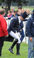 Blair Atholl, Scotland, UK. 11th September, 2015. Longines  FEI European Eventing Championships 2015, Blair Castle. Ben Vogg (SUI)after the dressage phase © Julie Priestley