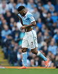 Raheem Sterling of Manchester City goes off injured during the Barclays Premier League match at The Etihad Stadium. Photo credit should read: Simon Bellis/Sportimage