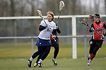 GER - Mainz, Germany, March 20: During the 1. Bundesliga Damen lacrosse match between Mainz Musketeers (white) and SC Frankfurt 1880 (red) on March 20, 2016 at Sportgelaende Dalheimer Weg in Mainz, Germany. Final score 7-12 (HT 3-5). (Photo by Dirk Markgraf / www.265-images.com) *** Local caption *** Katharina Zaenker #6 of Mainz Musketeers