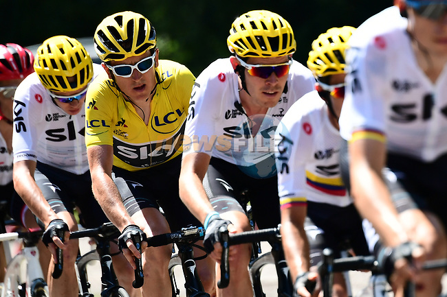 The peloton including race leader Yellow Jersey Geraint Thomas (WAL) Team Sky during Stage 5 of the 104th edition of the Tour de France 2017, running 160.5km from Vittel to La Planche des Belles Filles, France. 5th July 2017.<br /> Picture: ASO/Alex Broadway | Cyclefile<br /> <br /> <br /> All photos usage must carry mandatory copyright credit (&copy; Cyclefile | ASO/Alex Broadway)