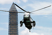 Marine 1, with United States President Barack Obama aboard, prepares to land on the South Lawn of the White House in Washington, D.C. following the President's weekend at Camp David on Sunday, July 7, 2013.<br /> Credit: Ron Sachs / Pool via CNP