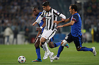 Calcio, quarti di finale di andata di Champions League: Juventus vs Monaco. Torino, Juventus stadium, 14 aprile 2015.<br /> Juventus' Alvaro Morata, center, is challenged by Monaco's Geoffrey Kondogbia, left, and Ricardo Carvalho, during the Champions League quarterfinals first leg football match between Juventus and Monaco at Juventus stadium, 14 April 2015.<br /> UPDATE IMAGES PRESS/Isabella Bonotto