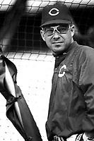 Chris Sabo of the Cincinnati Reds at Dodger Stadium in Los Angeles,California during the 1996 season. (Larry Goren/Four Seam Images)