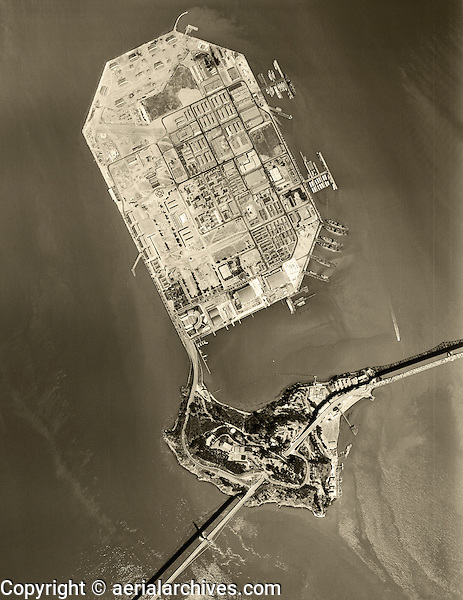 historical aerial photograph Treasure Island, Yerba Buena Island, San Francisco, California, 1956