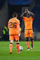Liverpool's Sadio Mane applauds the fans at the final whistle <br /> <br /> Photographer Craig Mercer/CameraSport<br /> <br /> UEFA Champions League Round of 16 First Leg - FC Porto v Liverpool - Wednesday 14th February 201 - Estadio do Dragao - Porto<br />  <br /> World Copyright &copy; 2018 CameraSport. All rights reserved. 43 Linden Ave. Countesthorpe. Leicester. England. LE8 5PG - Tel: +44 (0) 116 277 4147 - admin@camerasport.com - www.camerasport.com