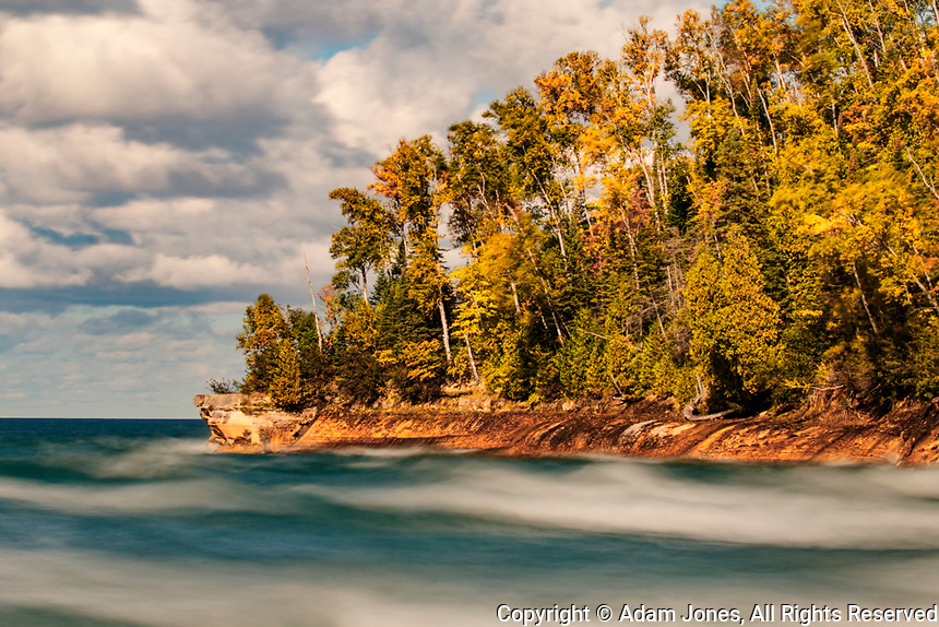 Long exposure of waves along shoreline of Lake Superior, Pictured Rocks National Lakeshore, Upper Peninsula of Michigan.