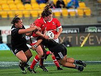 Laura Russell is tackled during the 2017 International Women's Rugby Series rugby match between the NZ Black Ferns and Canada at Westpac Stadium in Wellington, New Zealand on Friday, 9 June 2017. Photo: Dave Lintott / lintottphoto.co.nz
